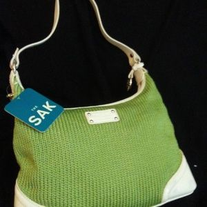 The Sak Green Crochet White Leather Hobo Handbag